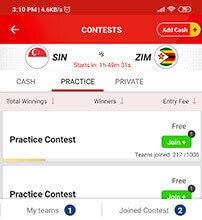 Practice Matches on My11circle App