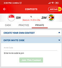 Private Contest on My11circle App