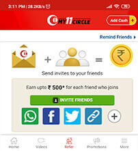 Refer and Earn on My11Circle App