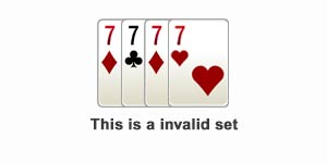 Invalid set in rummy game