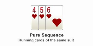 Pure sequence in rummy game